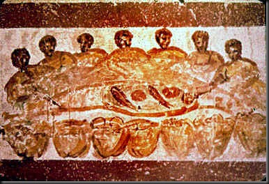 Agape feast or Last Supper (3rd cent)Painting of a feast - Early Christian catacombs (Catacombe di Priscilla) - Paleochristian art. Agape_Feast