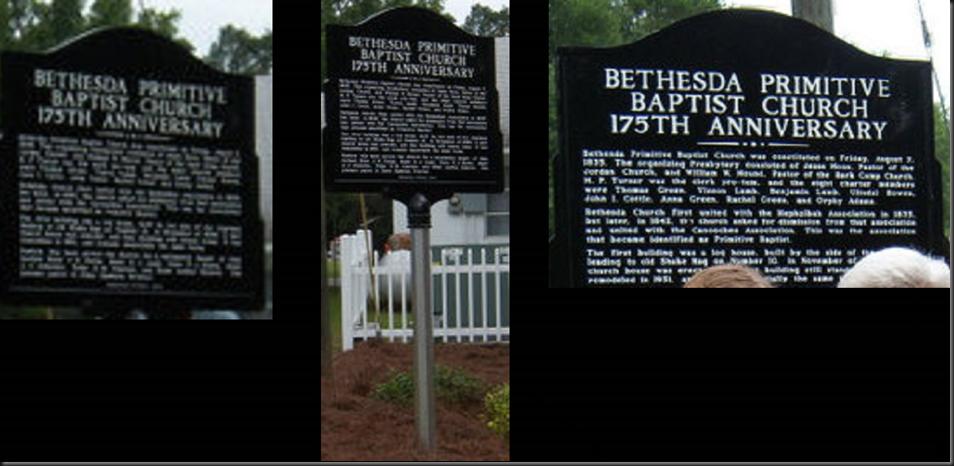 BETHESDA PRIMITIVE BAPTIST CHURCH ~ 175TH ANNIVERSARY
